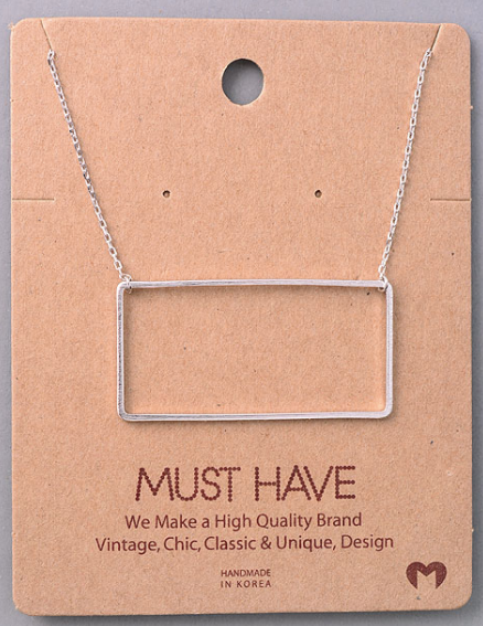 Rectangle Cutout Pendant|Silver