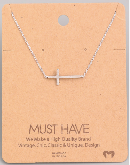 Side Cross Pendant|Silver