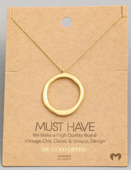 Hammered Circle Hoop Charm|Gold
