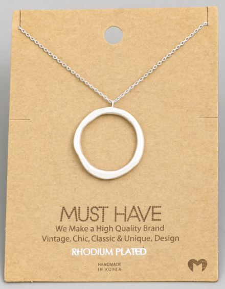 Hammered Circle Hoop Charm|Silver