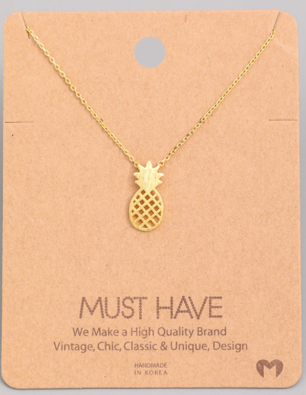 Pineapple Cutout Pendant|Gold