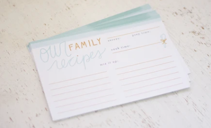"""Our Family Recipe"" Recipe Cards"