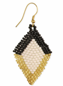 Black and White Woven Bead Earring