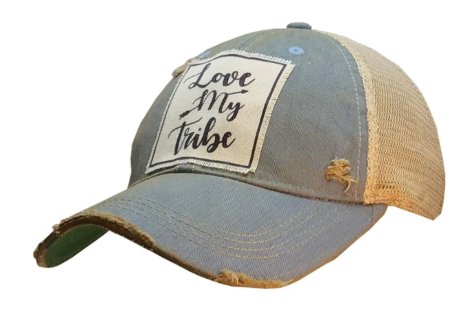 """Love My Tribe"" Vintage Distressed Trucker Hat"