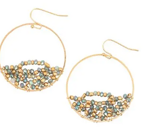 Gold Hoop with Twisted Aqua and Gold Beads