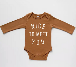 Nice to Meet You Organic Baby Long Sleeve Bodysuit