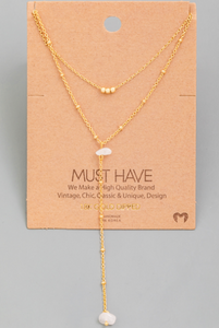 Dainty Layered Stone Lariat|Gold