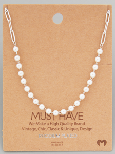 Pearl Beaded Chain|Silver