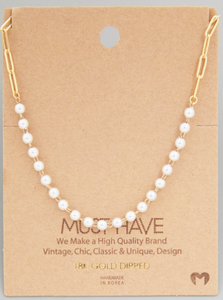 Pearl Beaded Chain|Gold