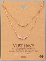 Load image into Gallery viewer, Layered Rhinestone Curved Bar|Rose Gold