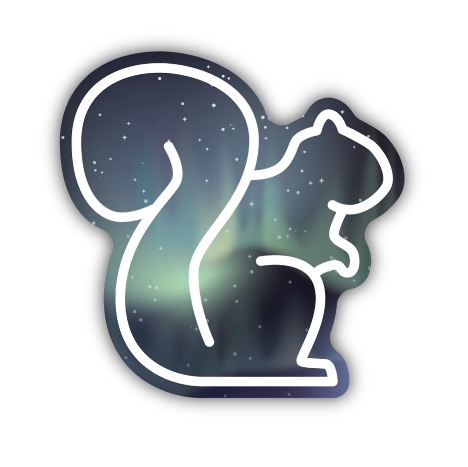 Northern Lights Squirrel Sticker