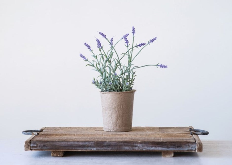 Faux Lavender in Paper Pot