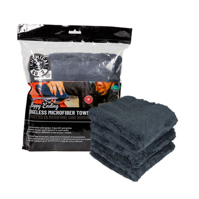 Happy Ending Edgeless Microfiber Towel Black - (3 Pack) NEW