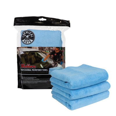 The Workhorse Towel Professional Grade Microfiber Towels, Blue (3 Pack)