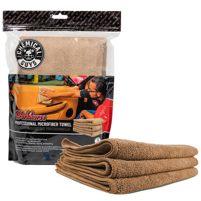 "Chemical Guys MIC34403 - Workhorse Tan Professional Grade Microfiber Towel 16""X16"" (Leather & Vinyl) (3 Pack)"