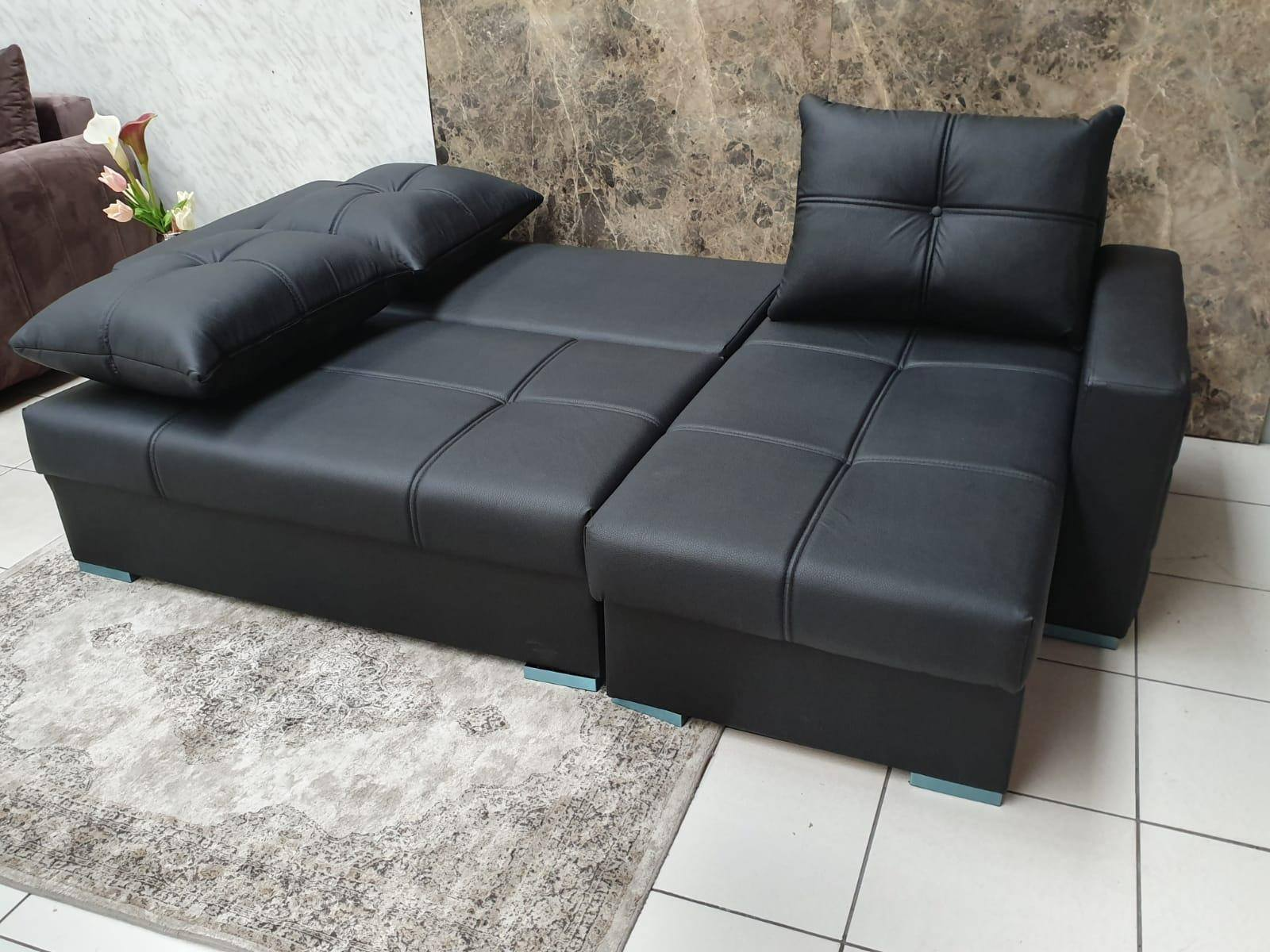 New Black Leather corner sofa bed – Furniture Valley Home