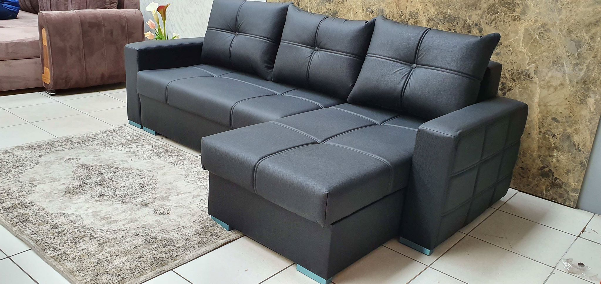 New Black Leather corner sofa bed
