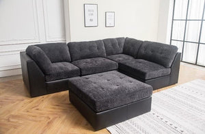 the best attitude 4e0a2 aa80d Brand New Chicago Corner Sofa Dark Grey Fabric with Leather base +  Footstool ; Delivery Available