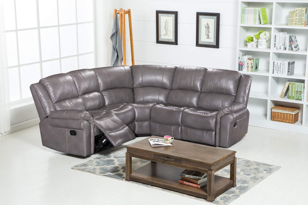 MANUAL RECLINER CORNER SOFA LEATHER AIR - Grey – Furniture Valley Home
