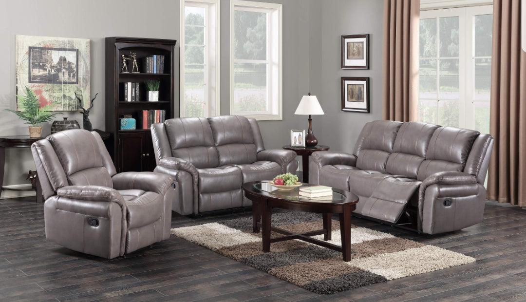 Brand New Grey Leather sofa 3 Seater + 2 Seater Manual Recliners on both  ends