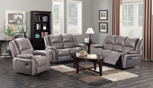 Brand New Grey Leather sofa 3 Seater + 2 Seater Manual Recliners on ...