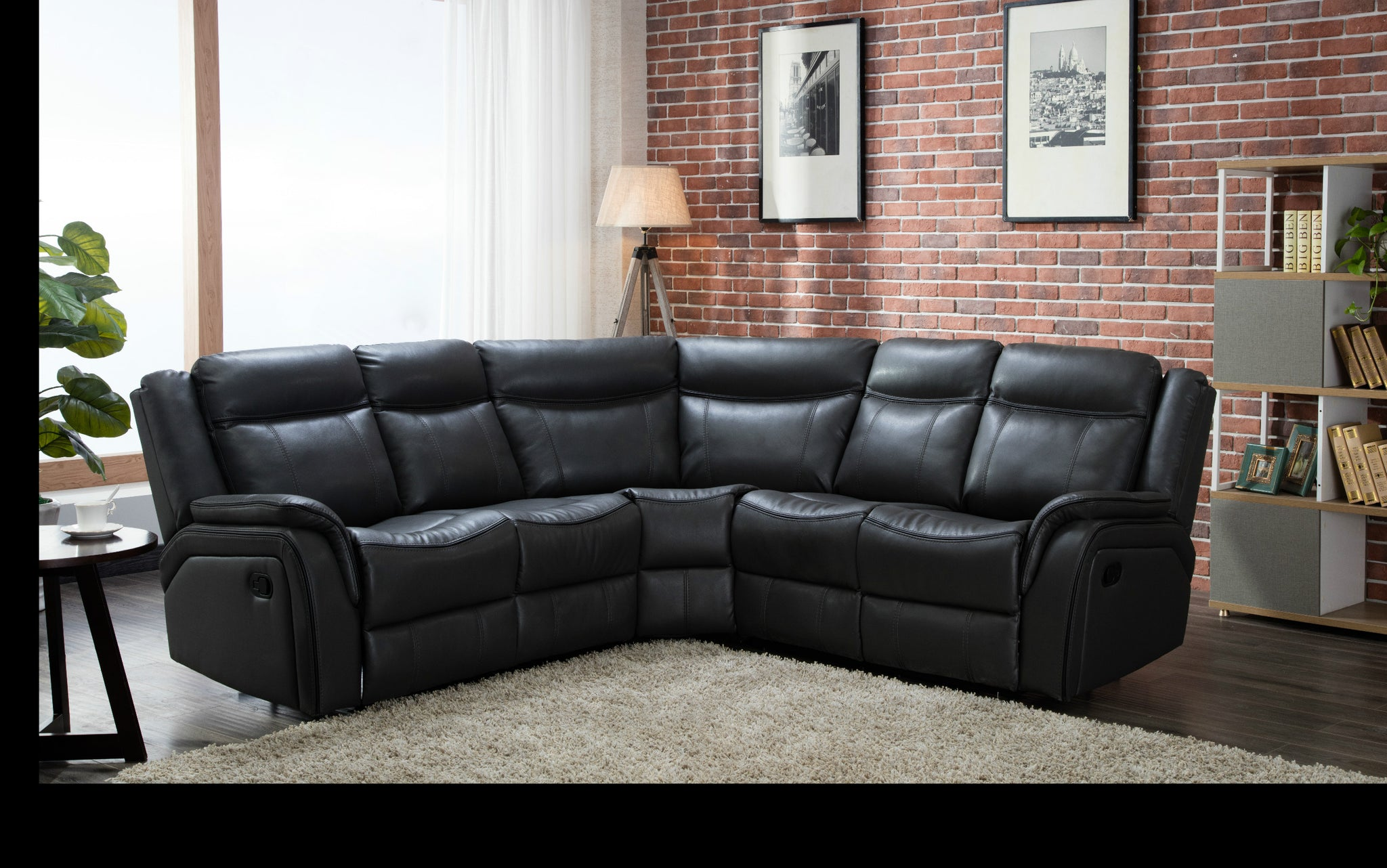 Awe Inspiring Manual Recliner Corner Sofa Leather Air Black Caraccident5 Cool Chair Designs And Ideas Caraccident5Info