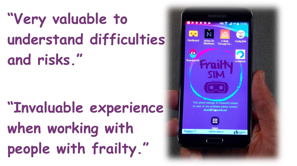 FrailtySIM valuable quote and image of handset