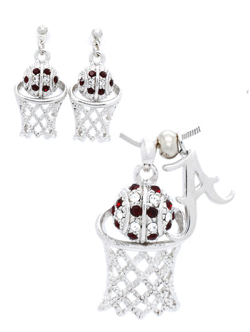 Alabama Large Basketball Necklace & Earring Set - POST