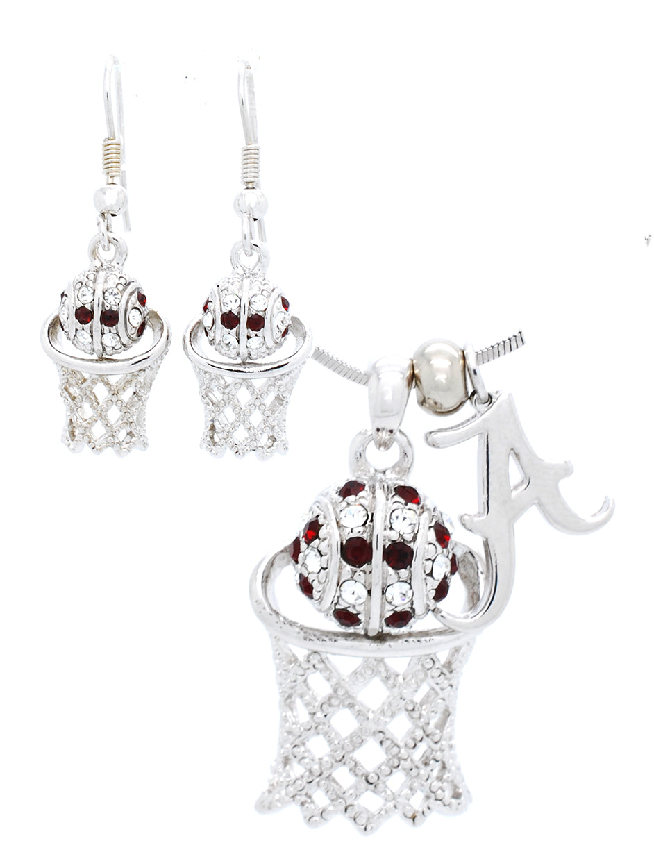 Alabama Large Basketball Necklace & Earring Set