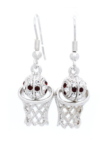 Basketball Hoop Earrings Dangle - Crimson/Crystal