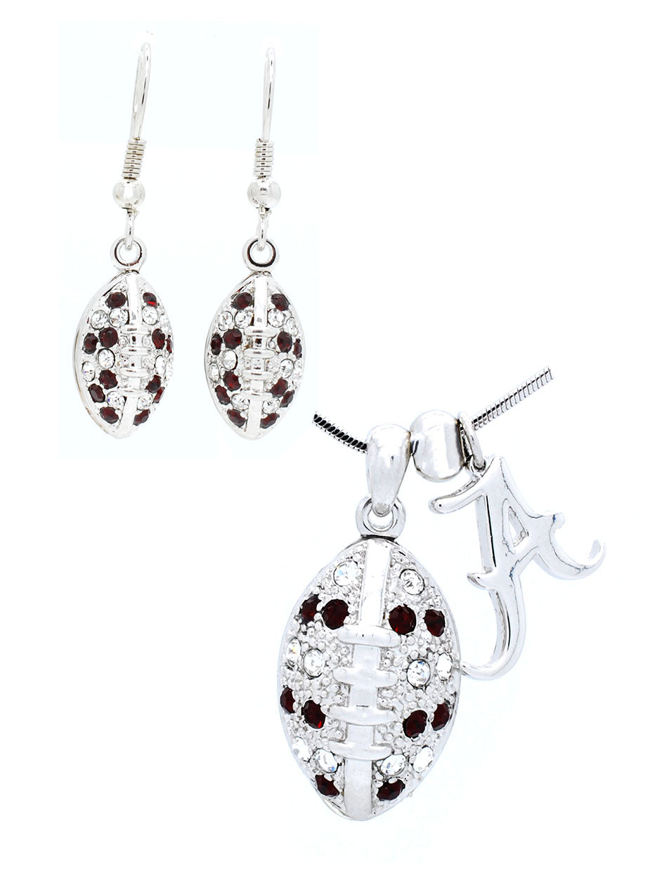Alabama Large Football Necklace & Earring Set
