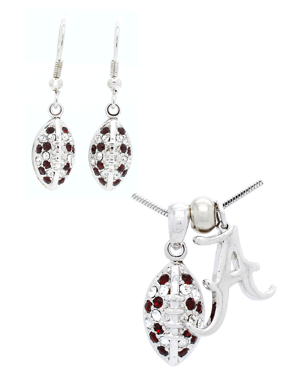 Alabama Mini Football Necklace & Earring Set