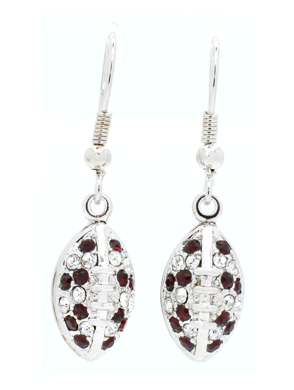 Football Earrings - Crimson/Crystal