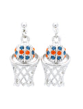 Basketball Earrings POST - Orange/Navy