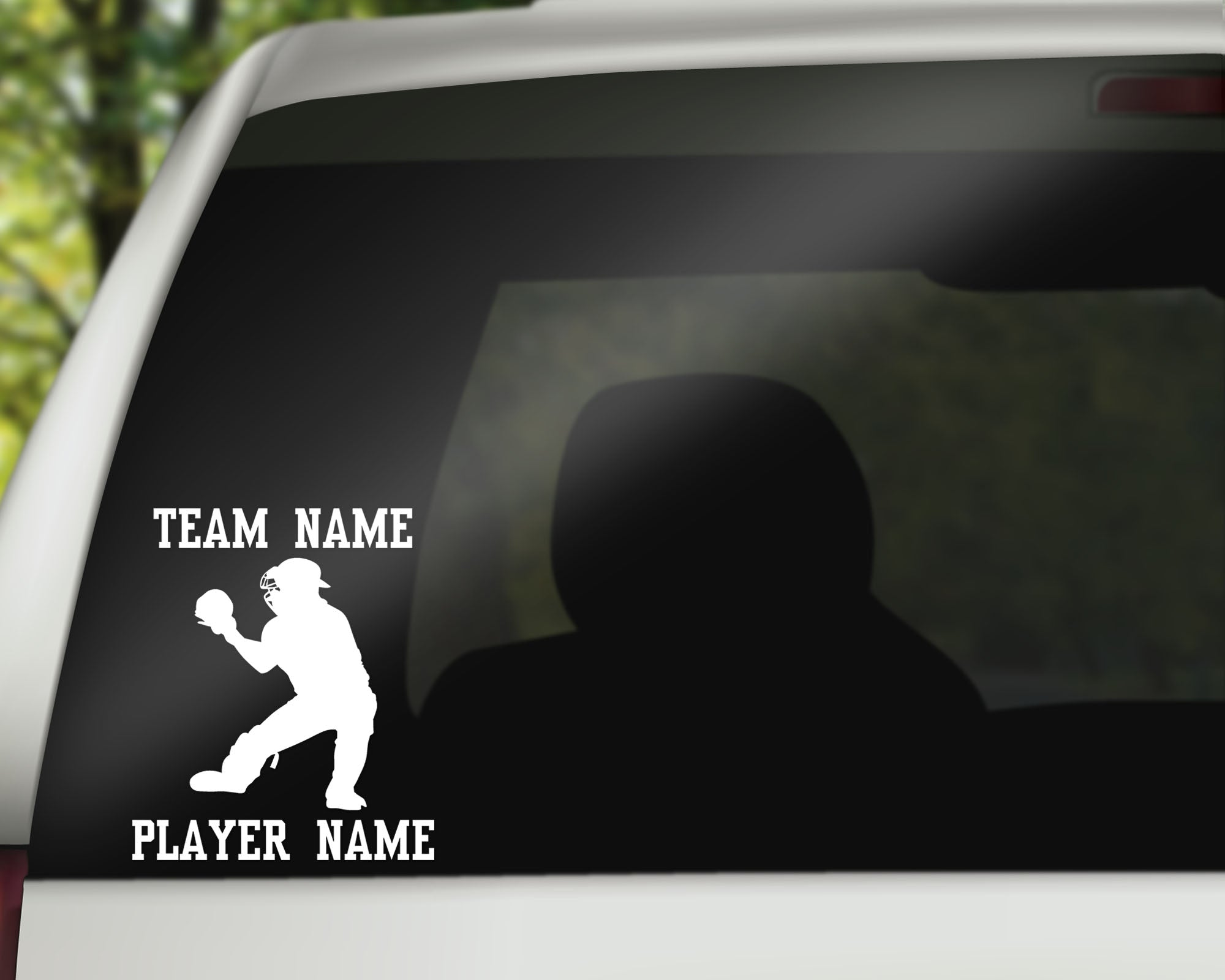 Custom Baseball Softball Car Window Decal - Catcher