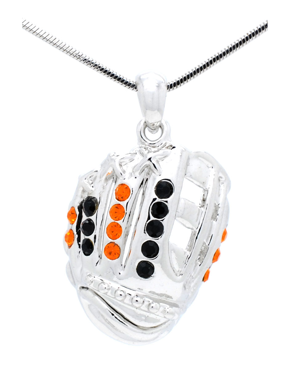 Baseball/Softball Glove Necklace Large - Orange/Black