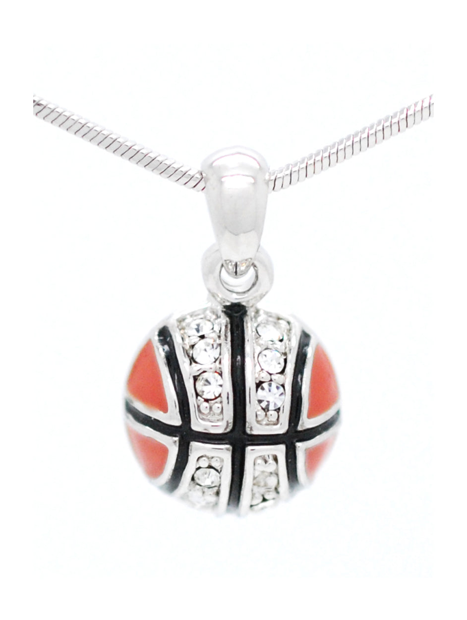 Enamel Basketball Necklace with Crystals - MINI Half Ball