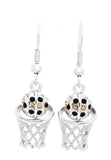 Basketball Earrings DANGLE - Black/Lt Gold