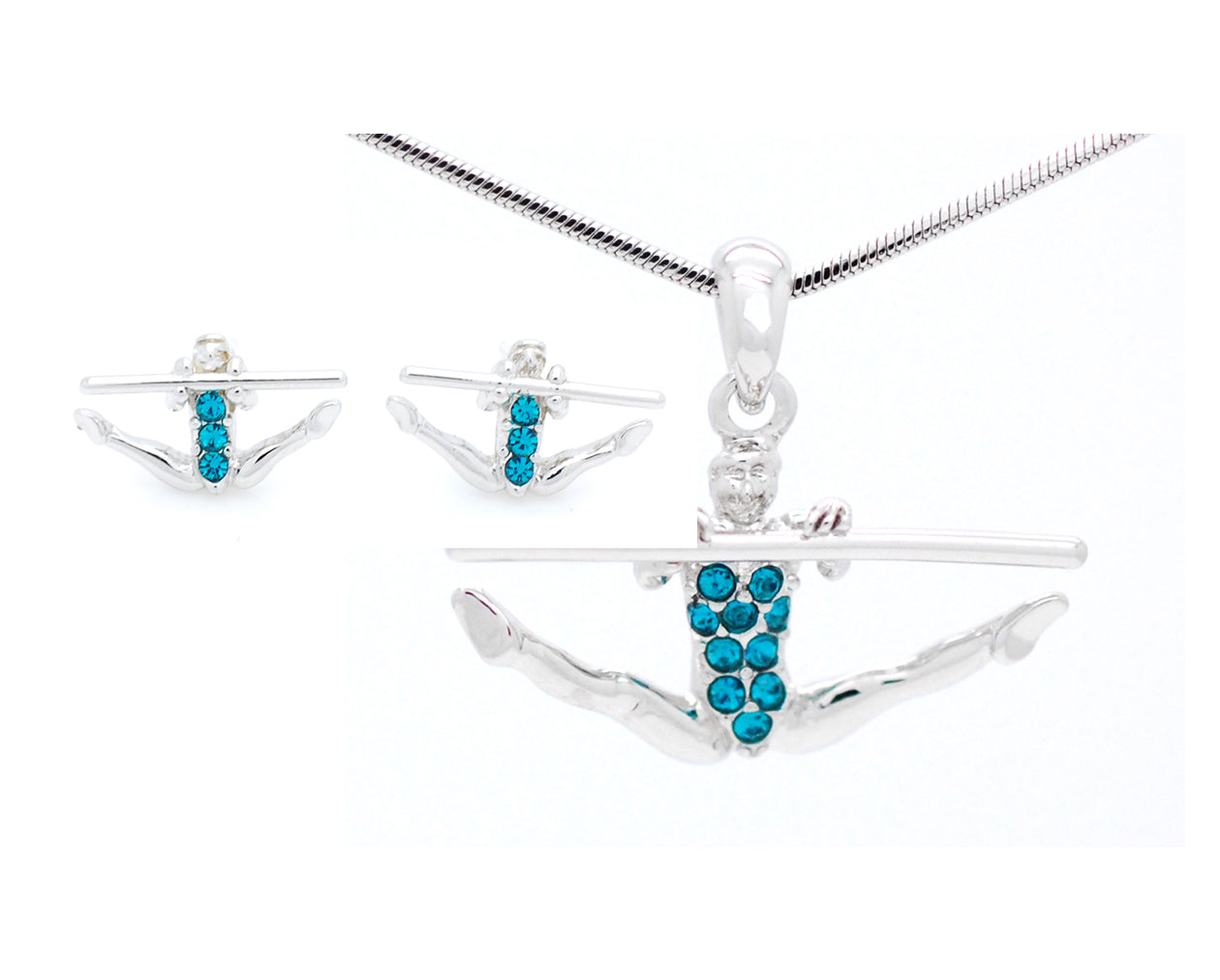 Gymnast Necklace & POST Earring Set - Uneven Bars