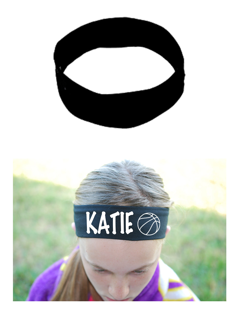 Custom BASKETBALL Cotton Headband - Flat (Non Sparkle) Letters!