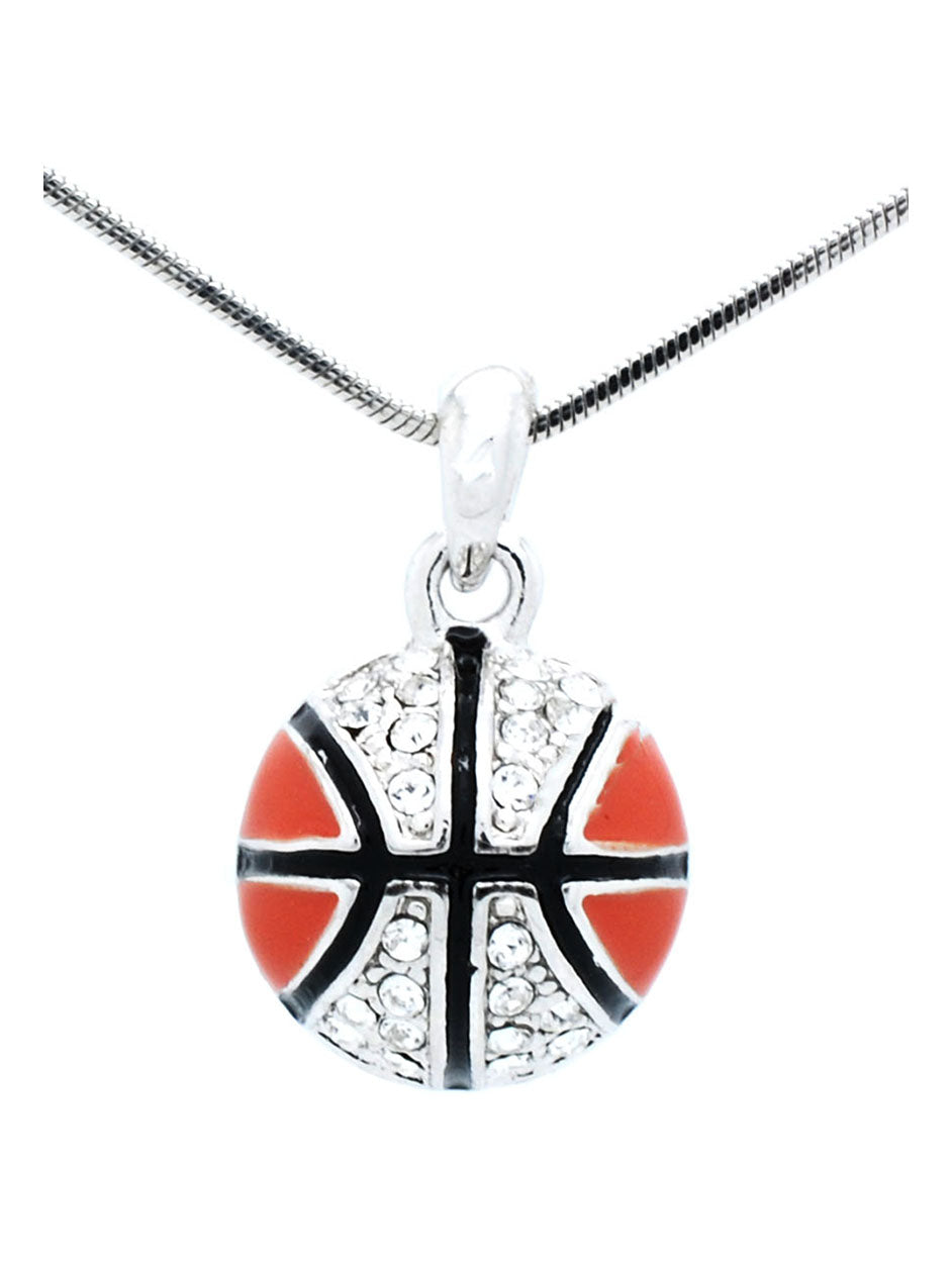 Enamel Basketball Necklace with Crystals