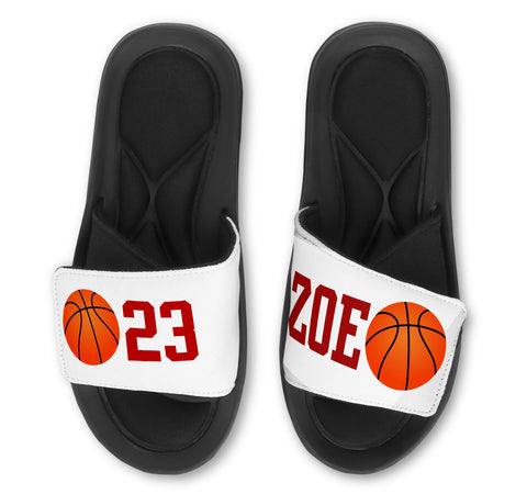 BASKETBALL Slides (Single Ball) - Customize with Your Name and/or Number