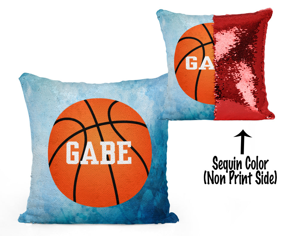Custom Personalized BASKETBALL Sequin Mermaid Flip Pillow- Watercolor
