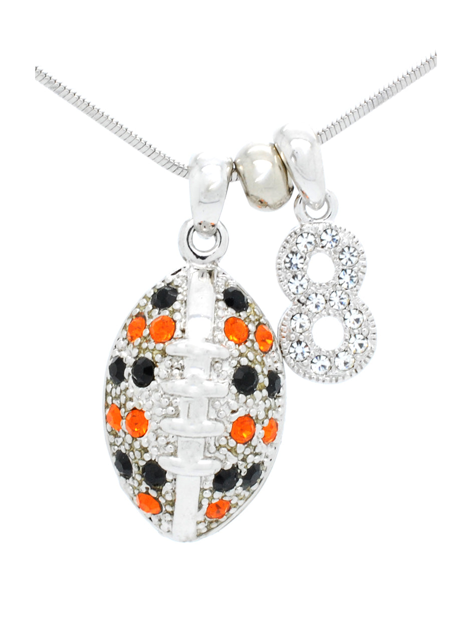 Football Necklace Large with 1 DIGIT - Black/Orange