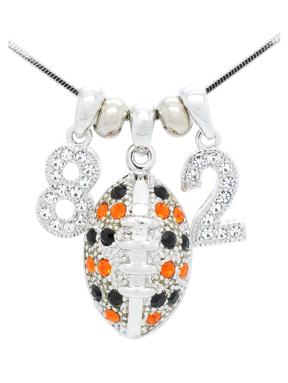 Football Necklace Large with 2 DIGITS - Black/Orange