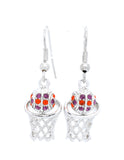 Basketball Necklace & Earrings DANGLE Set Large- Clemson