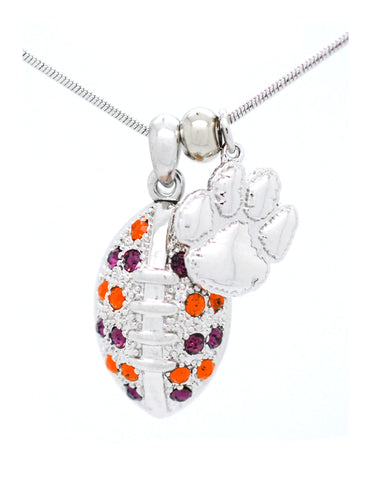 Large Football Necklace - Clemson