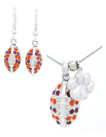 Large Football Necklace & Earring Set - Clemson