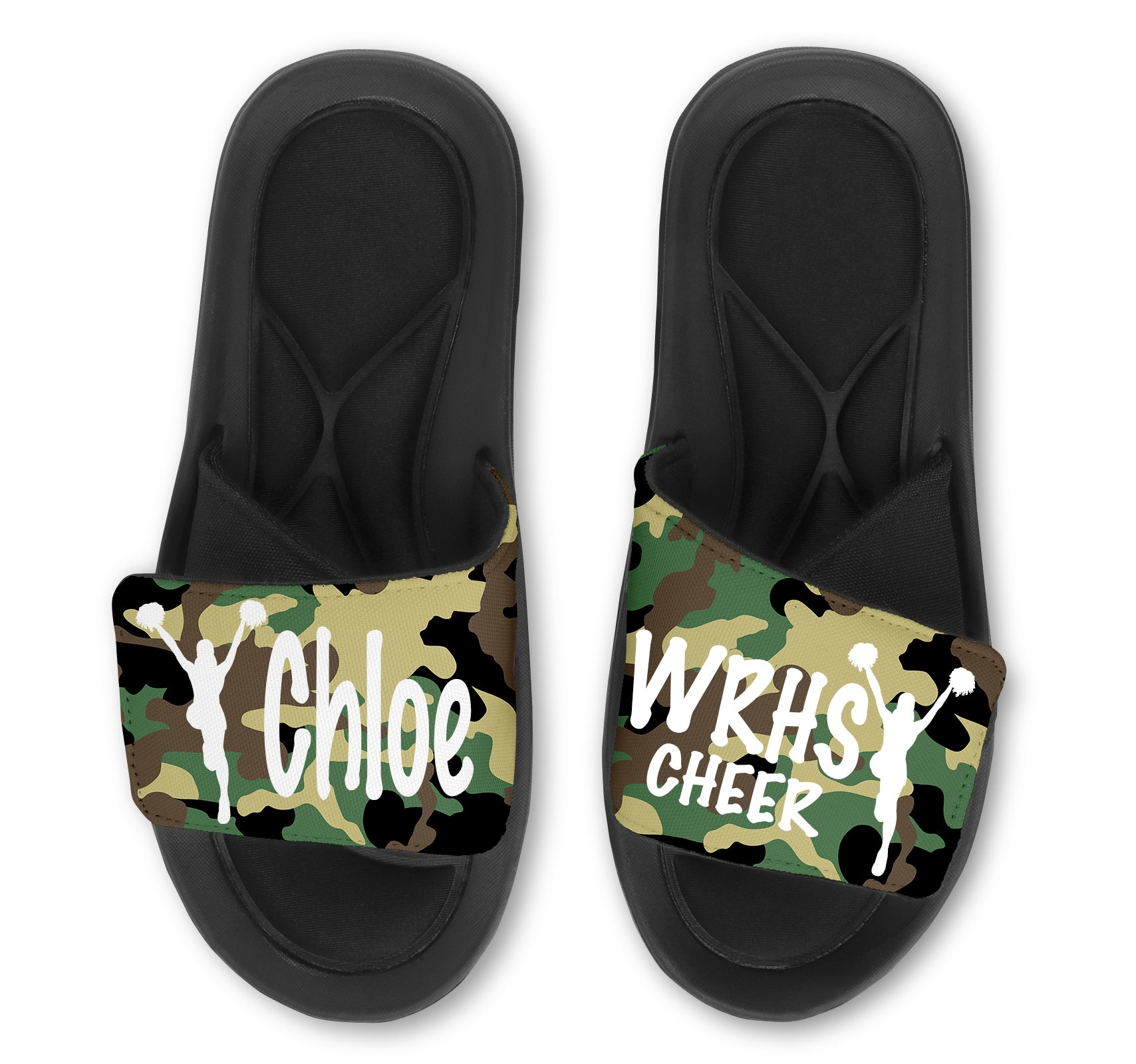 Cheerleading Custom Slides / Sandals - Camo