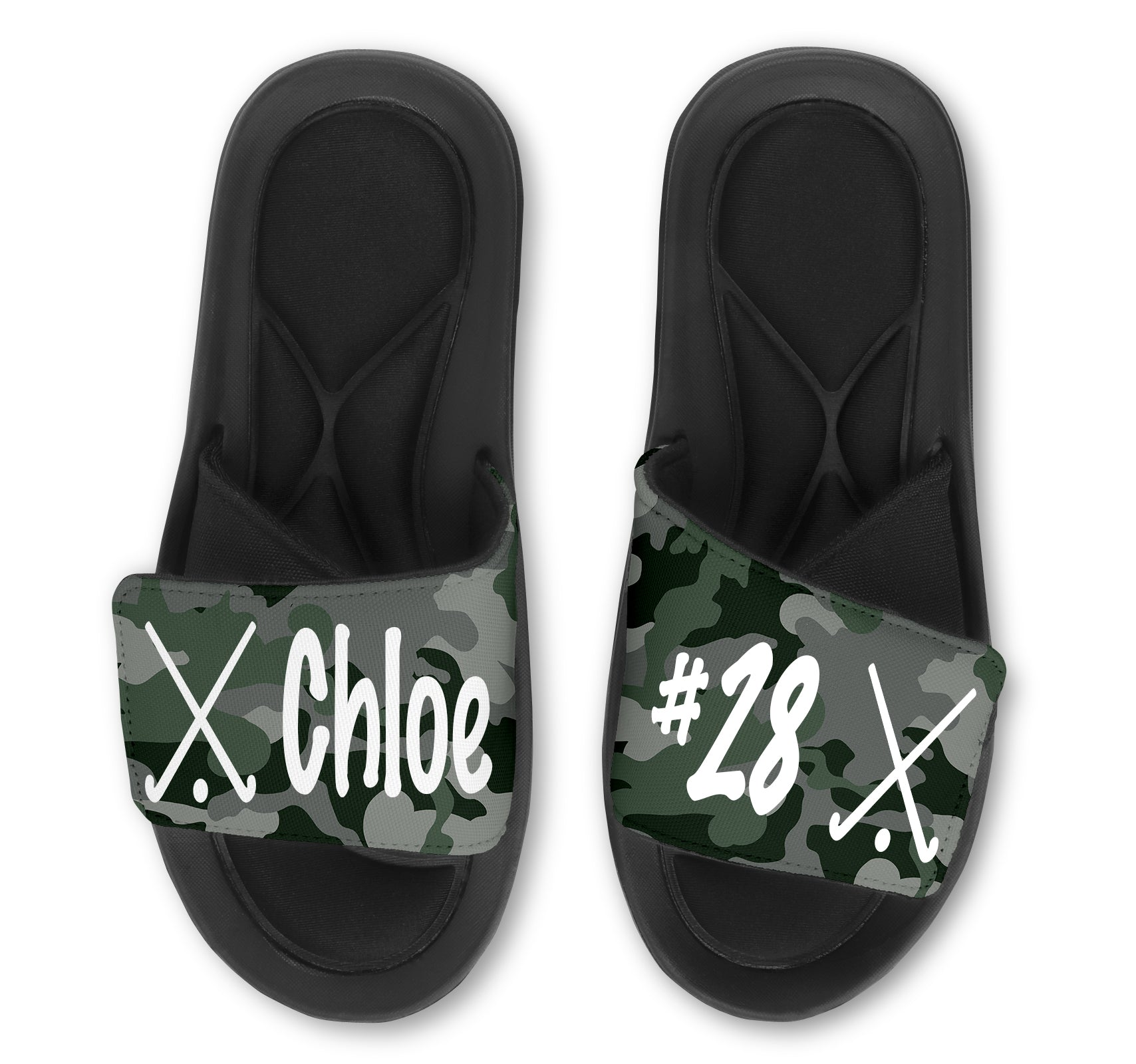 Field Hockey Custom Slides / Sandals - Camo